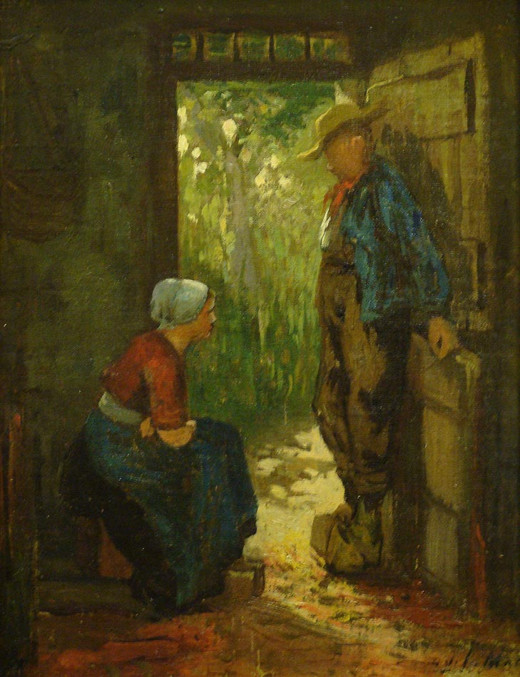 Unknown Artist Dutch Peasants 12x9 Oil on Canvas