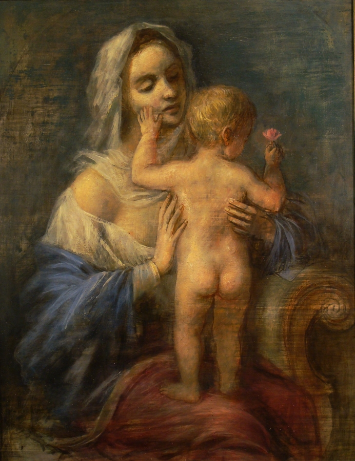 Unsigned Mother and Child 22x16 Oil on Board