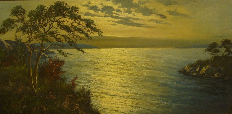 V. Andel California Coast at Sunset 24x48 Oil on Board