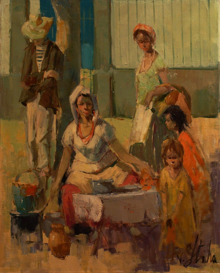 Vladan Stiha The Tortilla Seller 20x16 Oil on Board