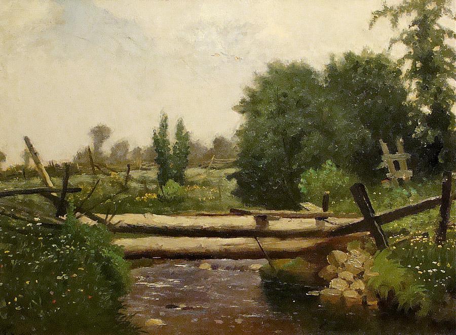 William Raphael Log Bridge 12x17 Oil on Canvas