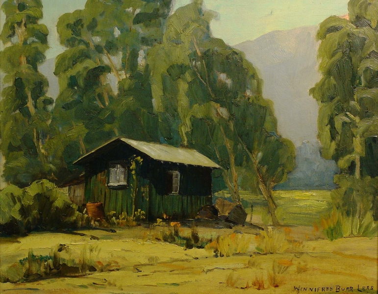 Winnifred Burr Cabin in San Gabriel Valley 16x20 Oil on Board