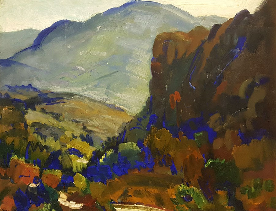 George Edmund Barker Jr Valley Blue 14x18 Oil on Board