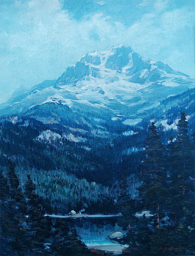 Henry Joseph Breuer View of Mt Shasta 26x20 Oil on Canvas