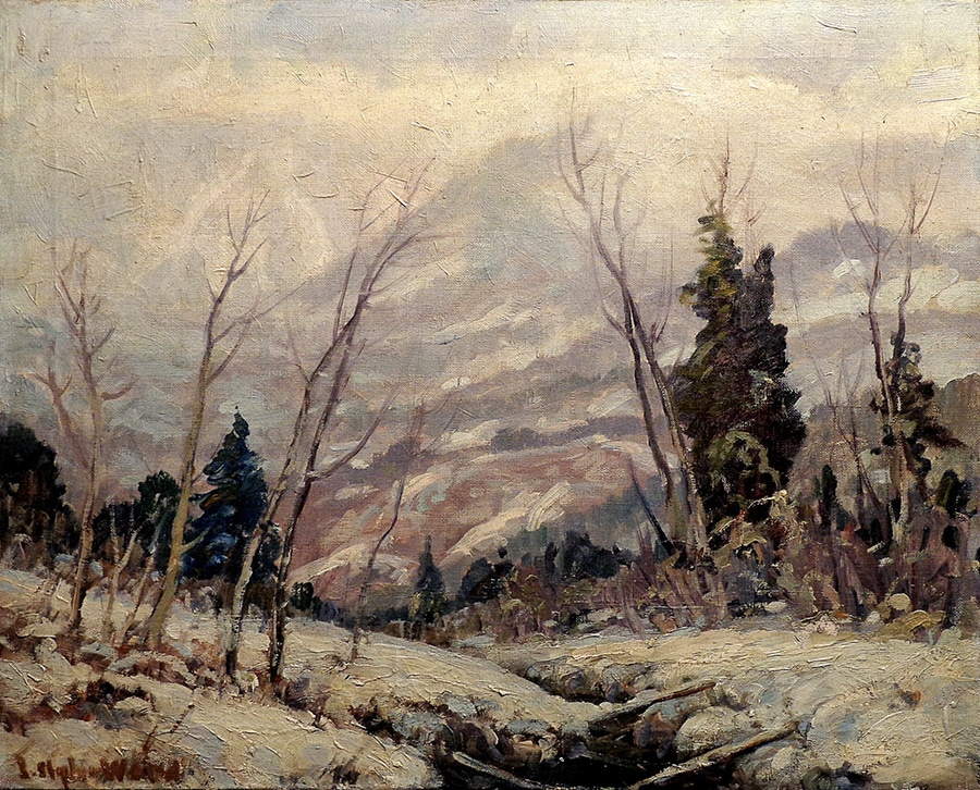 J. Stephan Ward Winter Snow 16x20 Oil on Canvas Board