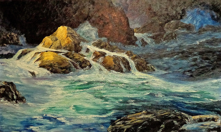 Murray F. Palmerton Pacific Surf 24x40 Oil on Board