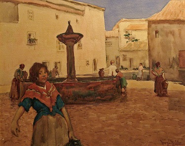 Henry L. Richter Mexican Town Square 16x20 Watercolor
