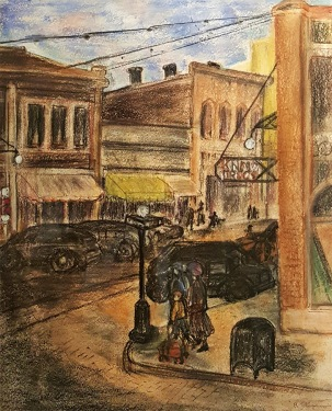 Richard Stephans Streets in San Francisco 16x13 Pastel