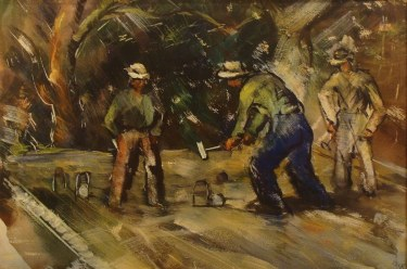 Charles Keck Croquet Players 18x24 Mixed Media