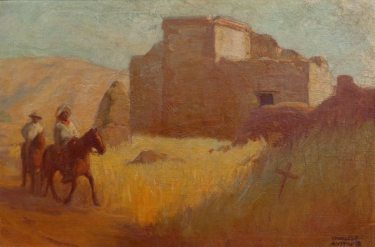 Charles Percy Austin Riders by an Adobe 24x36 Oil on Canvas