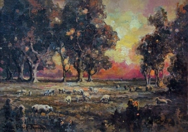 Alice Blair Thomas Sunset through the Trees 10x14 Oil on Board