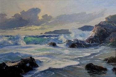 Bennet Bradbury California Surf 24x36 Oil on Canvas