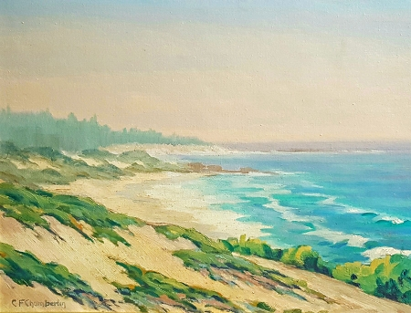Cecil F Chamberlin California Coast 12x16 Oil on Board