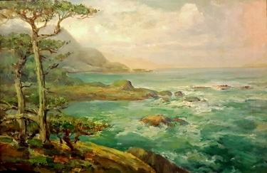 Charles Henry Harmon Coast Near Monterey 20x30 Oil on Canvas