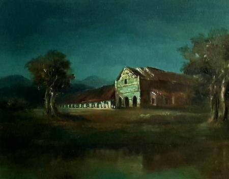 Charles Henry Mission San Juan Bautista at Night 16x20 Oil on Canvas