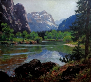 Christian Siemer Merced River Yosemite 36x40 Oil on Canvas