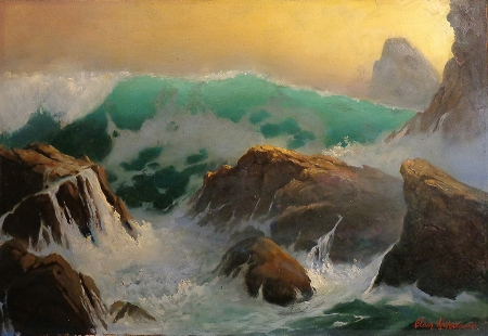 Clair Weidenaar Rugged Coast 20x13 Oil on Board