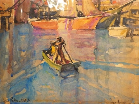Donald Easton San Pedro Harbor Watercolor