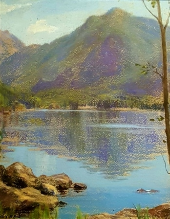 Elsie Haddon Haynes Mountain Reflection 14.5x10.5 Pastel on Board