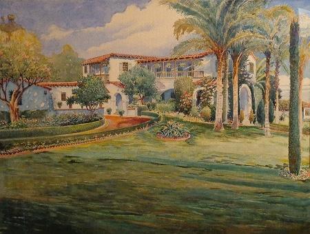 Fritz Poock Spanish Home California 22x29 Watercolor
