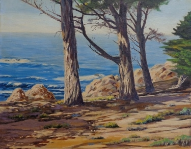 Harold R. Loy Pines along the California Coast 25x30 Oil on Canvas