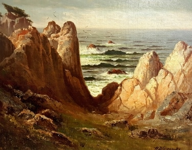 Harry D Gremke Rugged Shore California 16x20 Oil on Canvas