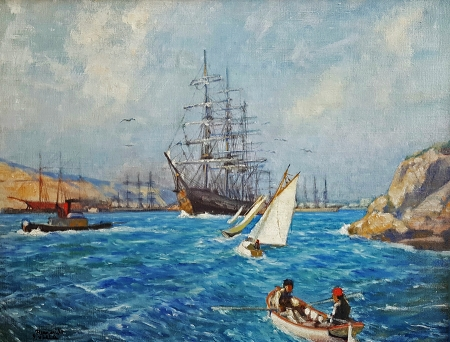 Hernando Villa Sailing Ships San Francisco Bay 20x26 Oil on Canvas