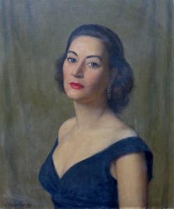 J. Mason Reeves  Black Satin dress  24 x 20 oil on canvas