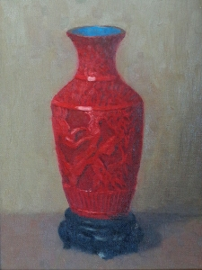 J Mason Reeves Red Vase 10x8 Oil on Canvas Board