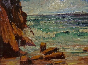 James Merriam  Catalina View from Laguna beach  7.5x9.5 oil on board
