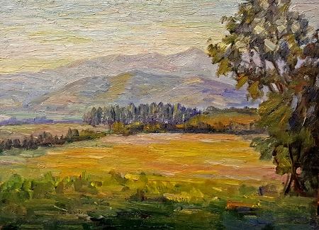 John Dominique Distant Hills 10x14 Oil on Board