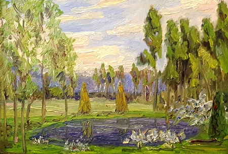 John Dominique Gentle Pond 10x14 Oil on Board