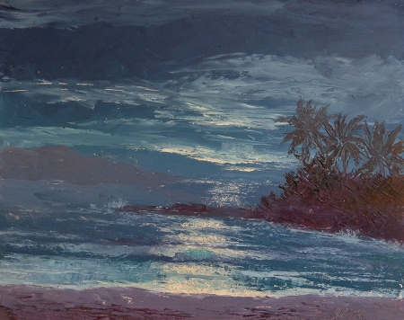 John W. Hilton Shores of Maui Hawaii 8x10 Oil on Board