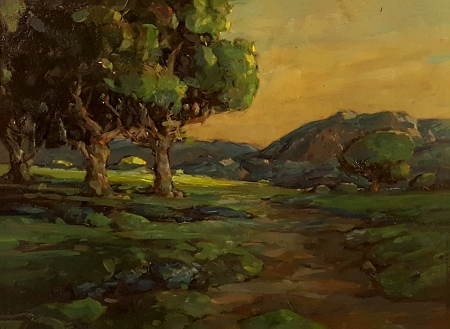 Karl Schmidt California Oaks 12x26 Oil on Metal