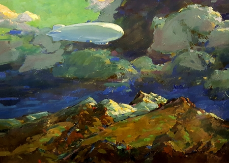 Karl Schmidt Dirigible over the Mountains 12x16 Oil on Metal