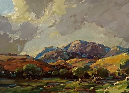 Karl Schmidt Thunderheads over the Mountains 12x16 Oil on Metal