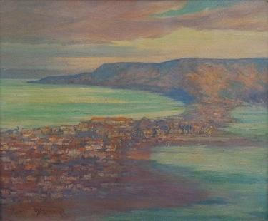 Mae Schumacher View outside my Window Coronado Island, San Diego 18x24 oil on canvas board