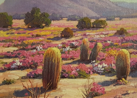 Paul Grimm Cactus and Color 6x8 Oil on Board