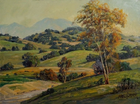 Paul Grimm California Rolling Hills 12x16 Oil on Board