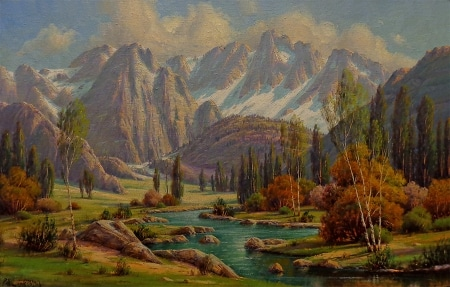 Paul Grimm Sierra Autumn 26x40 Oil on Canvas