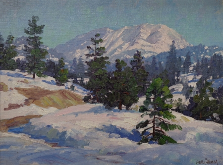 Paul Grimm Sierra Hills in Snow 12x16 Oil on Board