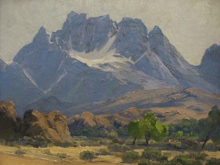 Ralph Love Distant Sierra Mountain 12x16 Oil on Canvas
