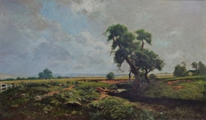 Ransom Holdredge Wheat Fields Sonoma County 30x50 oil on canvas laid to board