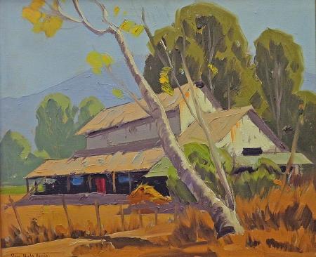 Sam Hyde Harris San Pasqual Barn Pasadena Oil Painting