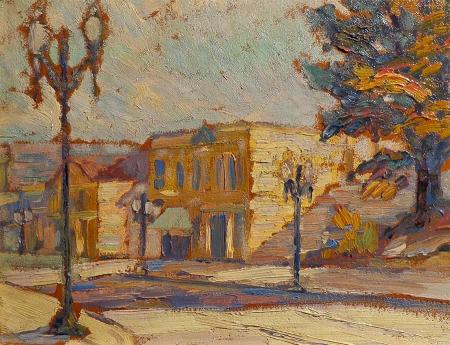 Unknown Artist City Street–Circa 1920's 11x14 Oil on Board