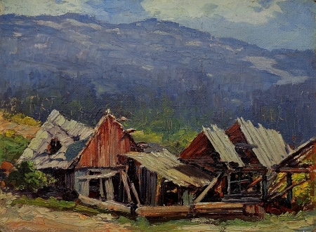 Unknown Artist Abandoned Cabin 12x16 Oil on Board