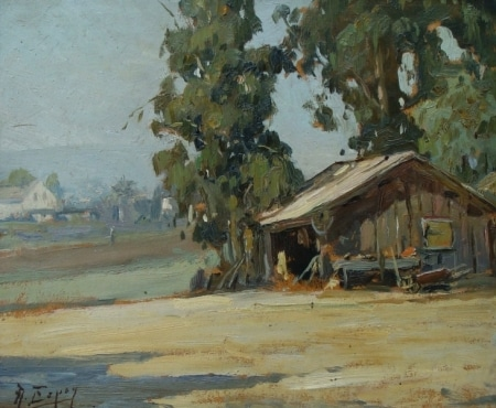 Angel Espoy Landscape with Farm Shed 10x12 Oil