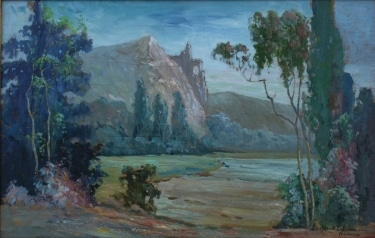 Benjamin C Brown Near the Merced River 15x24 Oil on Board