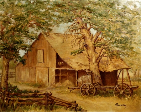 Edith Quimby Old Barn Dresser Ranch in Miramonte, 16x20 Oil on Board