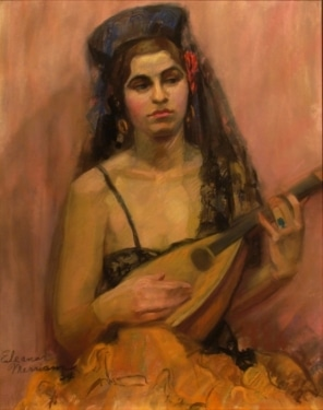 Eleanor Merriam Spanish Lute Player 20x16 Pastel